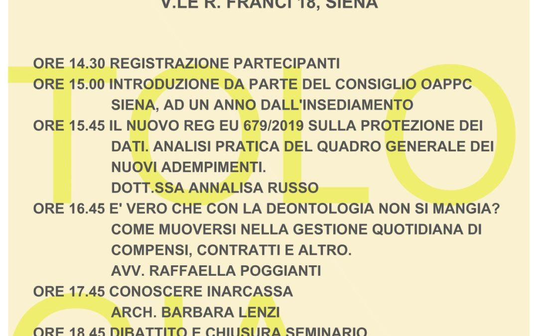 3 Dicembre 2019 SEMINARIO DEONTOLOGIA: PRIVACY, CONTRATTI, PREVIDENZA E ALTRO